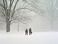 Students walking near Old Main - January 2004